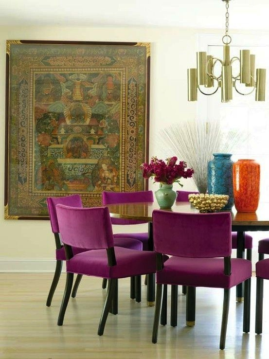 """Taking color ques from the wall hanging, Radiant Orchid """"WOWS"""" the room."""