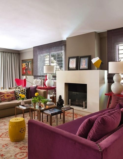 In a field of earth tones, Radiant Orchid colors the view.